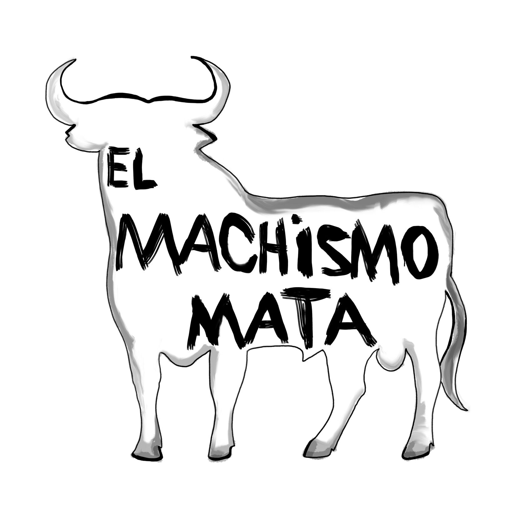 un toro español dibujado a mano con una inscripcion feminista