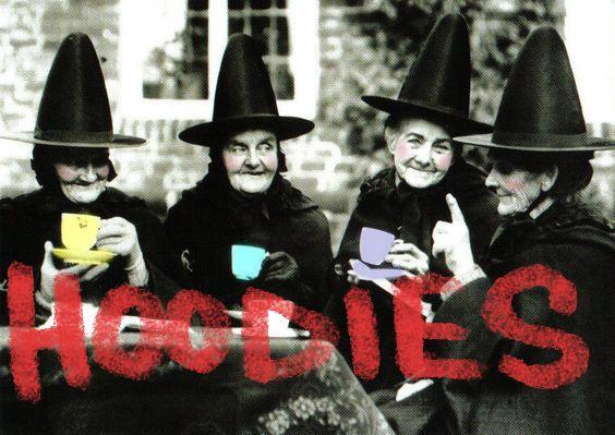 four witches having tea