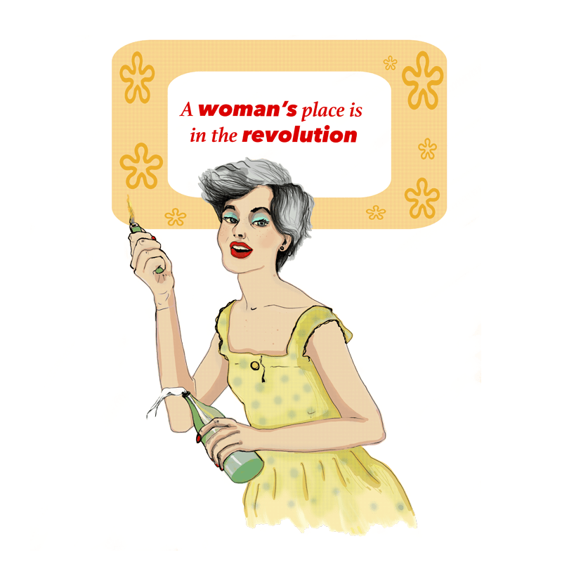 drawing of a happy housewife holding a molotov cocktail, inciting revolution