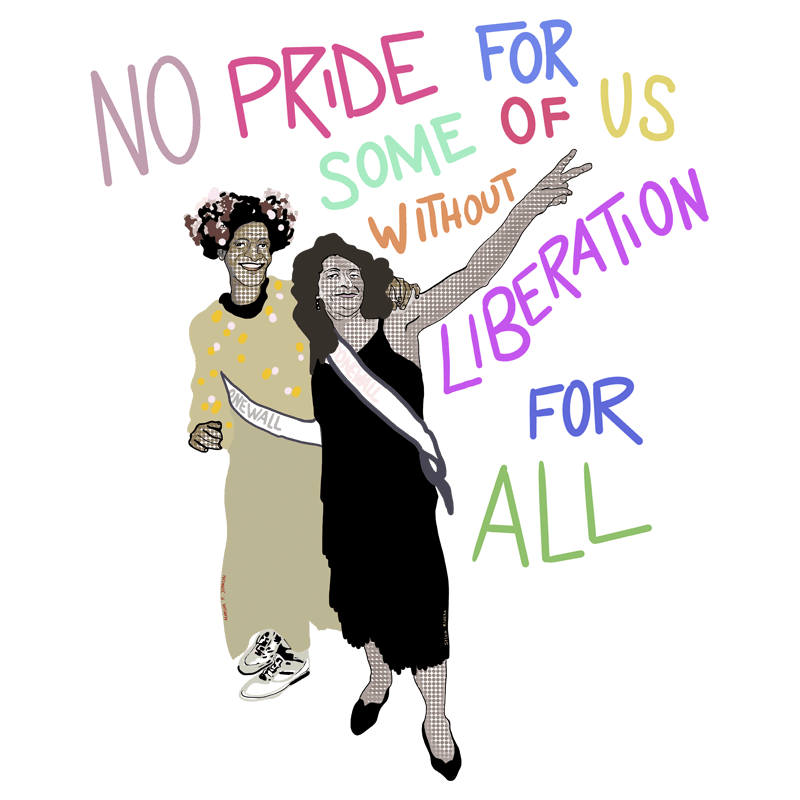 two women and liberation phrase